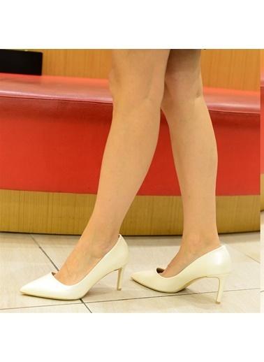 La scada Mr2993 Beyaz Sedef Kadın Topuklu Ayakkabı Beyaz